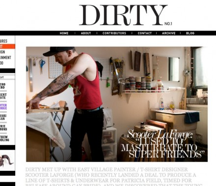 Artist, Scooter LaForge, shot for Dirty Magazine by David Kimelman in New York City in 2010.